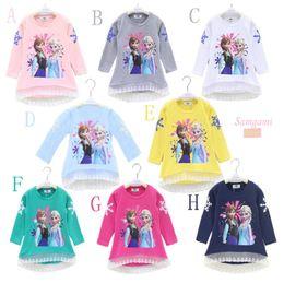 2015 nuevos 30pcs Congelado de manga larga T-shirt nieve Romance 2015 otoño de la historieta impresión punto de encaje de algodón impresas shir