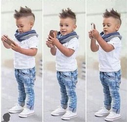Wholesale 2015 New Gentlman Baby Boy Clothes Short Sleeve Shirts Jean Trousers Scarf Boys Suit Baby Boys Clothes Children Outfits Kids Sets
