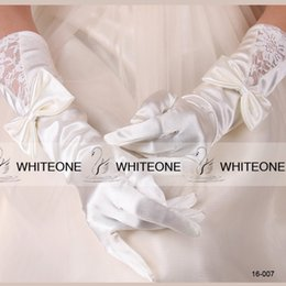 Wholesale 2015 Cheap Princess Wedding Bridal Gloves White Ivory With Exquisite Bow Lace Romantic Women Girl Prom Glove