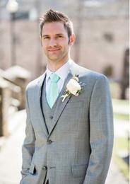 Wholesale Wedding Offer Suits For Groomsmen Gray Mens Suits Wedding Groom Tuxedo Peices Suit Grey Tuxedos For Men Wedding Tuxedo Custom Made