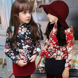 Wholesale 2015 New Fashion floral dresses children long sleeve one piece kids autumn spring clothing costume vestido elsa