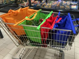 Wholesale 4 shopping trolley bags foldable cart folding grocery reusable supermarket carry bag
