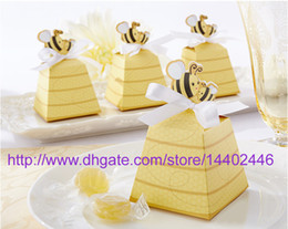 Wholesale 200pcs Baby Shower Gift Favor Boxes quot Sweet as Can Bee quot Yellow Candy Box For Wedding Party Beehive Favo