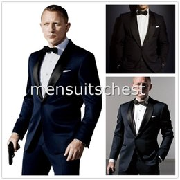 Wholesale Stars dress Custom Made Dark Blue Tuxedo Inspired By Suit Worn In James Bond Wedding Suit For Men Groom Jacket Pants Bow black terno noivo