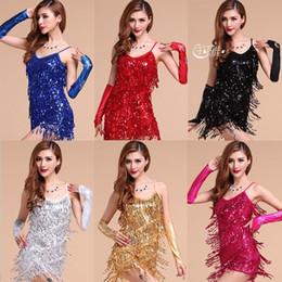 Wholesale Latest Latin dance dress performance wear adult tassel sequins clothing customize women ballroom dance dress for latin dancing