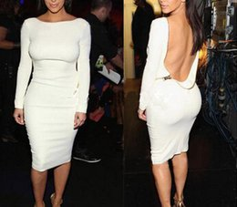 Wholesale 2014 New Autumn white Long Sleeve Backless vestidos Dress Sexy Gold Zip Knee Length Pencil Dress Evening Party Dress bandage