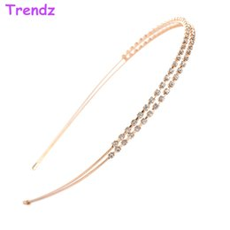 Wholesale 2015 Luxury Double Crystal Rhinestone Headbands European Hair Bands Bridal Headpiece Hair Accessories For Women Wedding FG8001