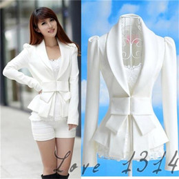 Wholesale Cheap White Womens Blazers Fashion Bodycon Autumn OL Suits V Neckline Long Sleeves Design Cotton Blends Coat White Autumn Hot Sale