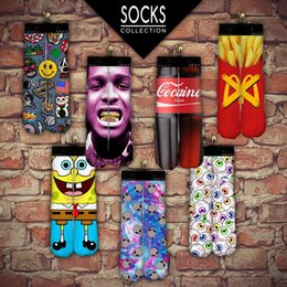 Wholesale Fashion New Sports Stockings pairs D Printed Socks Adult peoples Men s Women s D Unisex Stocking Soft Cotton Socks
