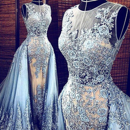 Wholesale Zuhair Murad Evening Dresses Light Sky Blue Lace Overskirt Long Bridal Gowns Detachable Train Formal Dresses Real Photo