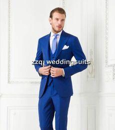 Wholesale 2015 Royal Blue Formal Wear Groom Tuxedos groommens suits wedding suits for mens Bestman s wedding suits jakcet Pants tie pocketsquare
