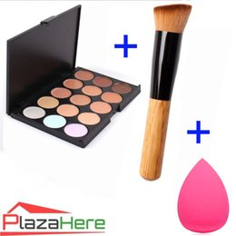Wholesale 15 Colors Contour Face Cream Makeup Concealer Palette Convenient Makeup Foundation Sponge Puff Angled Powder Brush Cosmetic Tool
