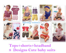 Wholesale Baby clothing Cute summer baby girl suit Tops Short Pants Headband Baby wear Best selling children s clothing designs