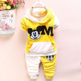 Wholesale 2015 Cartoon Minnie Mickey mouse clothes suits Baby Girls shirt small calico short pants Cute Kids tracksuits