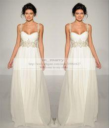Wholesale Grecian Style Wedding Dresses Vestidos de Novia Spaghetti Straps Beaded Floor Length Long Chiffon Boho Wedding Gowns Beach Bridal Dress