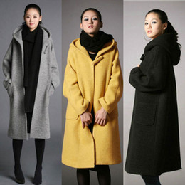 Women Wool Long Winter Coat Hooded Online | Women Wool Long Winter ...
