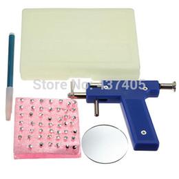 Wholesale New set Professional Stainless Steel Ear Nose Navel Body Piercing Gun Studs Tool Kit Set