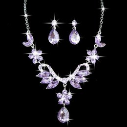Wholesale Alloy diamond necklace earrings suit wedding dress accessories accessories jewelry Set Party Gifts color AA8691