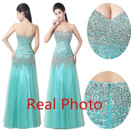 Wholesale Real Photo Aqua Tulle Mermaid Dresses Party Evening In Stock Bling Bling Heavy Beaded Sweetheart Backless Prom Dresses