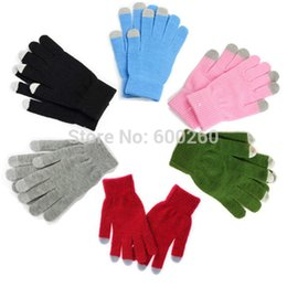 Wholesale 2014 hot fashion Winter Unisex men women Touch Screen Stretchy Soft Warm Winter Wool Gloves Mittens for Mobile Phone Tablet Pad