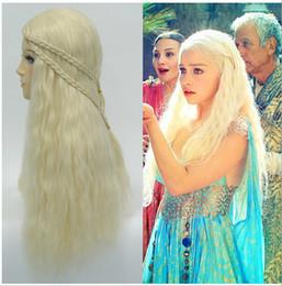 Дейенерис Targaryen парики волос Holloween парики Косплей парики Дейенерис Targaryen Стиль волос Игра престолов Длинные парики волос Свободная перевозка груза