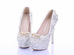 Wholesale women high heels prom wedding shoes lady crystal platforms silver Glitter rhinestone bridal shoes thin heel party pump