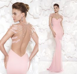 Wholesale Fashion Pink Evening Dresses Mermaid Tarik Ediz Party Prom Gowns Sheer Backless With Beads Appliques Pearl Sweep Train Custom Made