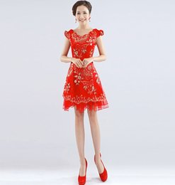 Wholesale Short Sleeve chinese dress Floral cheongsam dress with flower chinese traditional dresses vistido de festa hot sale QP