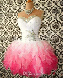 Wholesale 2015 Hot Sale Pink And White Cute Homecoming Dresses Ball Gowns Corset tie Back Graduation Dress Short Prom Dress Cocktail Gowns No Sleeve