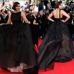 Wholesale 2015 Sonam Kapoor Celebrity Dresses Elie Saab Ball Gown Bateau Neck Chapel Train Black Color Sexy Backless Red Carpet Dresses Evening Gowns