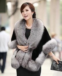 Wholesale 2016 New Winter Leather grass fox fur mink rabbit fur poncho cape bridal wedding dress shawl cape women vest fur coat