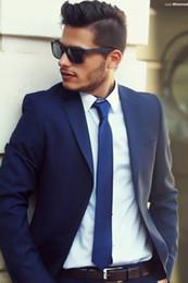 Wholesale Custom Made Slim Fit Royal Blue Groom Tuxedos Notch Lapel Best Man Groomsmen Men Wedding Suits Jacket Pants Tie Vest For Wedding