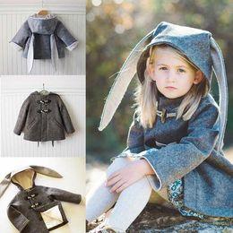 Wholesale Boys Girls Outwear Christmas Kids Clothing Winter Fashion Long Sleeve Warm Wool Coat with Ear Cap ER