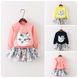 Wholesale 2015 New Arrival Babies Girls Cats Print Tees Floral Skirts Outfits Sets Candy Color Fall Winter Sweet Christmas Casual Clothing