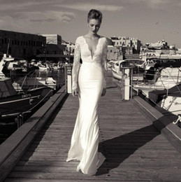 Wholesale 2016 Plunging V Neck Long Sleeves Backless Lace Appliques ZOOG BRIDAL STUDIO Wedding Dresses Floor Length Custom Made Chiffon Bridal Gowns