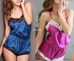 Wholesale New Sexy Women Satin Lace Robe Sleepwear Lingerie Nightdress one piece Pajamas