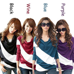 Свободный рукав футболка шить полосатый с длинными рукавами трикотажные пуловеры для женщин бесплатная доставка
