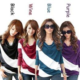 T-shirt manches lâche coutures Pull rayé maille à manches longues pour dames 100pcs/lot