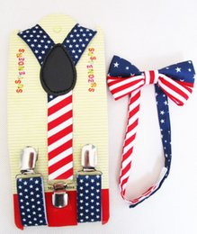 Wholesale New Fashion Kids Children Boys USA Flag Print Bow Ties And Suspenders Sets