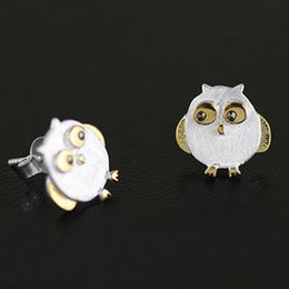 Wholesale S925 silver new frosted cute drawing the owl earrings A small animal earrings
