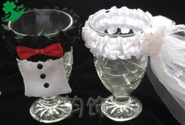 Wholesale Exquisite wine glass dress bride and bridegroom wine glass clothes creative products fashion wedding supplies