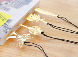 Wholesale 2015 Bookzzicard Exquisite B264 Bookmark Natural Vintage Golden Dragonfly Paragraph Creative Bookmarks