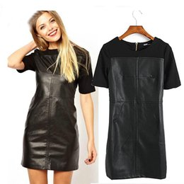 Wholesale S NEW Fashion Black Splice PU Leather Bodycon Slim Cocktail Party Dress