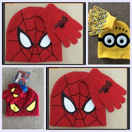 Wholesale 3 colors Spider man minions hat scarf times for year kids boy girl cute cartoon warm thicken glove christmas gift sets topB1214 sets