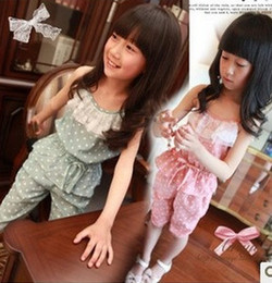 Wholesale Hot Kids Girls lace falblala Jumpsuits Baby Girls polka dots jumper pants children princess one piece girls clothes A6142