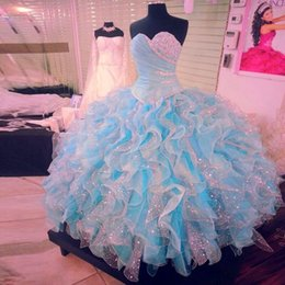 Wholesale Luxury Customized Light Long Crystal Corset Popular Quinceanera Dresses Blue And White Glitter Dress Expensive Ballgowns Girls