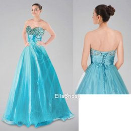 Wholesale Crystal A Line Aqua Tulle Prom Dresses Sweetheart Sleeveless Attractive Formal Gowns Dresses Pageant Dress