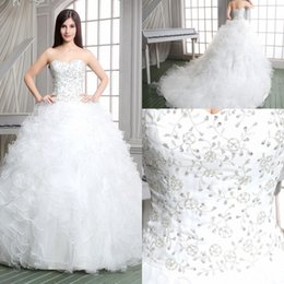 Wholesale 2015 In Stock Cascading Ruffles Weddings Events hour Shipping Lace Up Strapless A Line Organza Chapel Length Crystal A023
