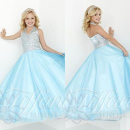 Wholesale Sky Blue Long Pageant Dresses for Teens Size Girls Dress Plus Size Halter Beads Crystals Girls Formal Party Dress Sleeveless