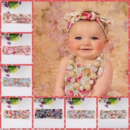 Wholesale 2016 Kids Hairbands Headbands for Girls Baby Top Knot Turban Headband Floral Print Girls Headwrap Rabbit Ears Headband Baby Hair Accessories